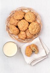 Oatmeal cookies and milkshake, top view