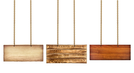 collection of various wooden signs with a gold chain on white ba