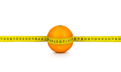 orange tightened measuring tape on a white background. concept o