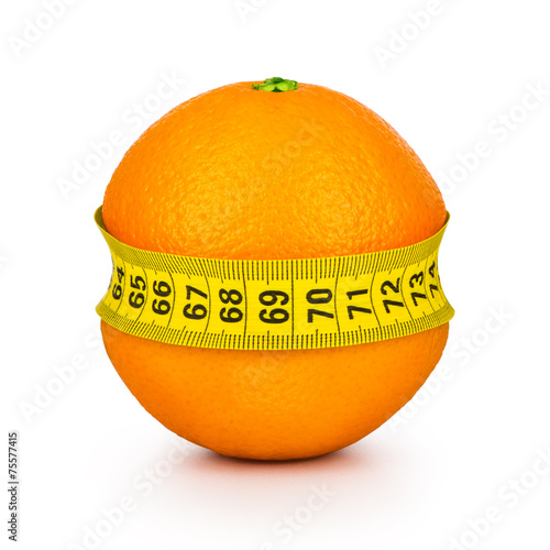 Leinwandbild Motiv orange tightened measuring tape on a white background. Concept s