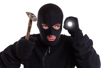 Mann mit Lampe und Hammer - Dieb