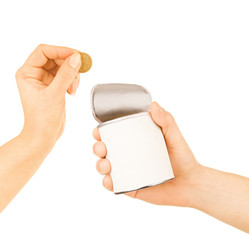 hand puts a coin in the tin on a white background