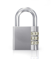 silver Padlock with later code on white background