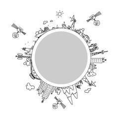Global information network  on the globe, vector illustration