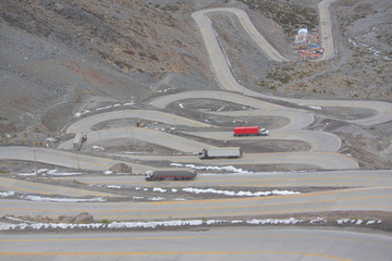 international road with many switchbacks between Santiago and