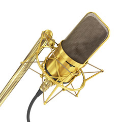 Gold Microphone isolated on the white background. Speaker concep