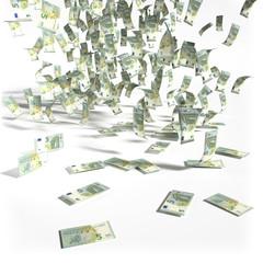 Geldregen aus 5 Euroscheinen