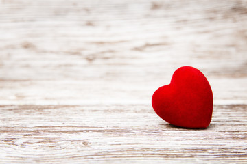 Heart on wooden background, valentine day love decoration