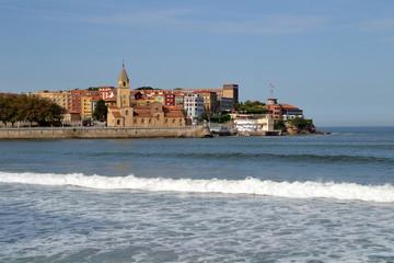View of San Pedro church in Gijon, Asturias, Spain
