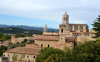 View of the city of Girona with the Cathedral