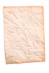 crumpled old paper on white background