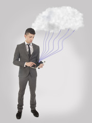 Young business man with streaming data with cloud