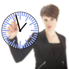 Young businesswoman with clock isolated