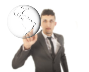 Young businessman with earth globe isolated