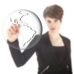 Young businesswoman with earth globe isolated