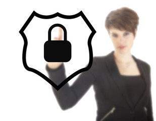 Young woman with protection shield isolated