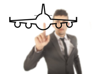 Young businessman with airplane isolated