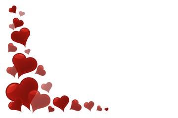 Herzen auf weißem Hintergrund
