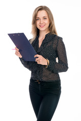 Beautiful cheerful business woman with tablet and pen for notes