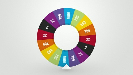 color wheel of fortune spins randomly drawn to win