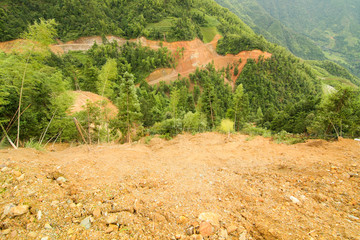 View of landslide in china