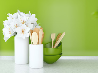 Wooden utensils and flowers.