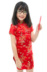 Beautiful asian girl holding red packet monetary gift