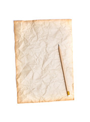 crumpled paper with wooden pencil