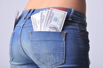 Hot girl ass with dollars in cash