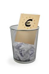 Papierkorb mit Akte - Euro