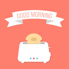 white toaster with ribbon and good morning inscription