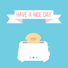 white toaster with ribbon and have a nice day inscription