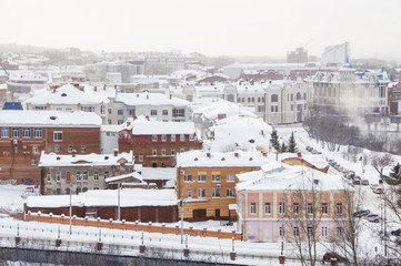 Tomsk, Russia. Aerial view of the old city in winter