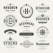 Retro Vintage Insignias or Logotypes set vector design elements - 75582635