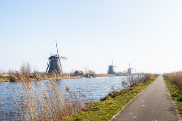 Dutch windmills in a row