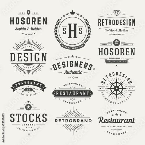 Foto op Plexiglas Retro Retro Vintage Insignias or Logotypes set vector design elements