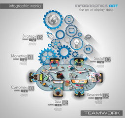 Infographic teamwork and brainsotrming with Flat style