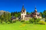 Wonderful ornamental garden and castle,Peles,Sinaia,Romania poster