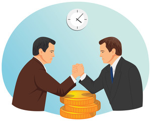 Arm wrestling of two businessmen on the stack of coins