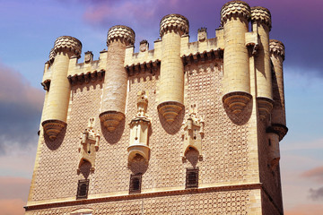 Tower of Alcazar of Segovia at sunset