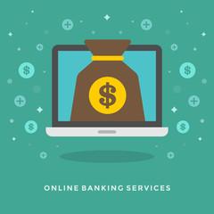 Flat design vector business illustration Online banking
