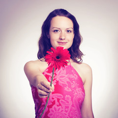 Beauty Model Girl with Flowers