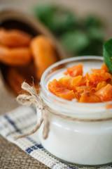 sweet homemade yogurt with dried apricots