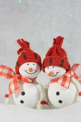 Two cute snowmen.Vertical image