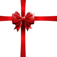 Lazo y cinta roja para envolver regalo