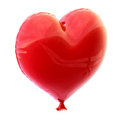 red balloon in heart shape for Valentine's Day with a string