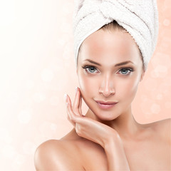 Spa Girl with clean skin . Beautiful Woman After Bath