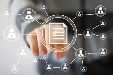 Businessman touch button web file icon communication