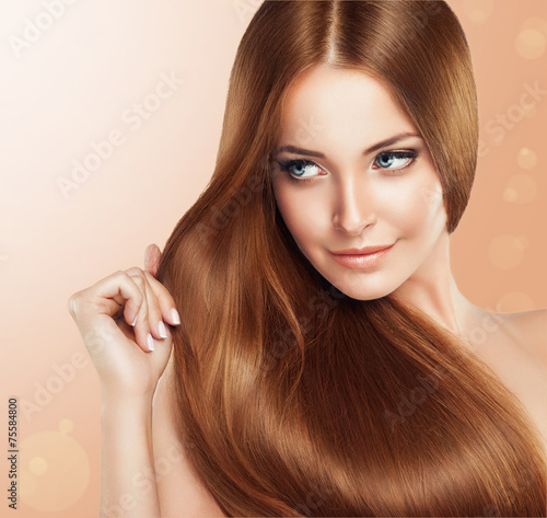 Beautiful girl with brown hair .Long straight hair Shine