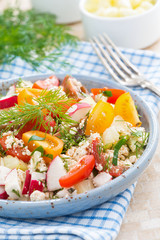 dietetic food - fresh salad with vegetables and cottage cheese